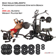NEW Body Solid SBL460P4 Freeweight Leverage Gym & FID46 Bench + 455 lbs. plates