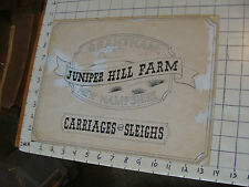 ORIGINAL drawing by Victor Flanders JUNIPER HILL FARM carriages & sleighs