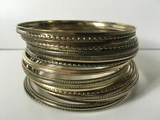 18pcs Textured Assorted Gold Plated Bangles Fashion Bangle- S/M / 6.5cm diameter