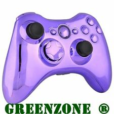 Replacement Chrome Purple Controller Shell + Buttons Mod Kit for Xbox 360