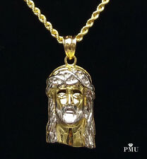 """10k Yellow Gold Jesus Piece Pendant with 22"""" 10k Gold Rope Chain Set"""