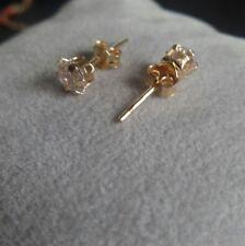 ORECCHINI LOBO DONNA ORO GIALLO 750 18KT ZIRCONE TAGLIO DIAMANTE GOLD EARRINGS