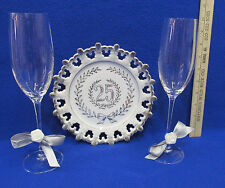 Vintage 25th Wedding Anniversary Plate Ucagco & Champagne Glasses Lot of 3