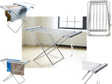 NEW 6BAR100W ELECTRIC HEATED CLOTHES HORSE DRYER AIRER PORTABLE FOLDABLE LAUNDRY