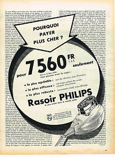 PUBLICITE ADVERTISING  1958   PHILIPS   rasoir