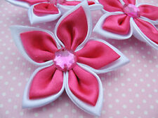 "20pcs Satin 2"" Ribbon Flower W/ Rhinestone-Hot pink"