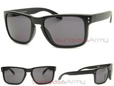 MATTE BLACK Holbrook Sunglasses DARK LENS mens sports wrap around keyhole retro