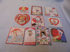 Valentine Cards, 10 Mixed, Dog, Kids, Cupid, Flowers, Hand Made, Used, Vintage