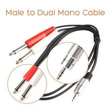 "90cm 3ft 3.5mm 1/8"" Stereo Male to Dual Mono 1/4"" 6.35mm Audio Amp Cable"
