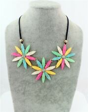 Bohemia Fashion Colorful Big Flower Crystal Leather Chain Pendant Bib Necklace