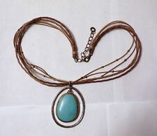 Silpada Sterling Howlite Turquoise Pendant Multi Strand Beaded Leather Necklace