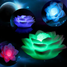 Battery Powered LED Color Lotus Flower Changing Night Light Romantic Décor 3w