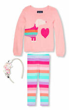 NWT The Childrens Place Puppy Sweater Leggings Headband Baby Girl Outfit 12-18 M
