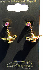 Disney park arribas bros swarovski aladdins genie lamp golden crystal earrings
