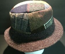 Hanna Hats Handcrafted Patchwork Pure Wool Tweed Irish Fedora Hat Cap SZ S
