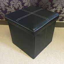 Black Faux Leather Ottoman Storage Box Footstool Seat Pouffe Cube