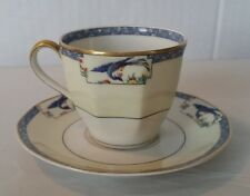Vintage Theodore Haviland Limoges Calcutta Blue Bird Demitasse Cup and Saucer