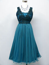 Cherlone Blue Prom Ball Evening Wedding Knee Length Bridesmaid Dress Size 12-14
