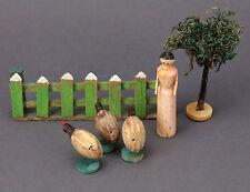Spielzeug Bauernhof Holz mit Spanschachtel um 1900 Skandinavien Tiere Modell