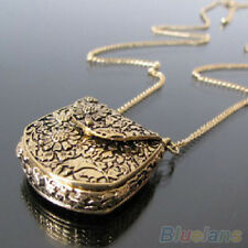 Magic Vintage Unique Bag Box Shape Carved Locket Pendant Long Chain Necklace