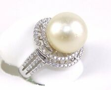 Fine Huge Pearl Solitaire Ring w/Diamond Halo & Accents 14k White Gold 13mm