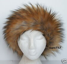 LONG FLUFFY FAUX FUR HEADBAND HAT SKI EAR WARMER MUFFS ONE SIZE 58.5 - 59 CM NEW