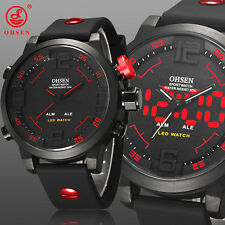 OHSEN Waterproof Sports Military LED Digital Analog Rubber Band Men Wrist Watch