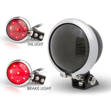 Matt Black LED Stop Taillight & Chrome Bezel for Retro Project Custom Motorbike