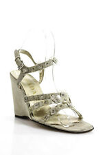 Prada Gray Suede Flower Applique Ankle Strap Wedges Sandals Size 36 6