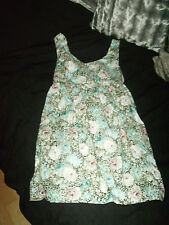 STUNNING black with powdery blue green pink floral dress size 8 PRETTY womens