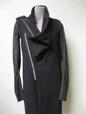 Rick Owens Draped Collar Asymmetric Zip Front Leather Sleeve Long Wool Coat 42 8