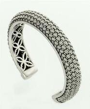 Sterling Silver Wheat Woven Mesh Cuff Bracelet Handcrafted in Bali, Indonesia