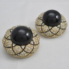 Large vintage signed Ciner clip earrings, unpierced, black cabochons rhinestones