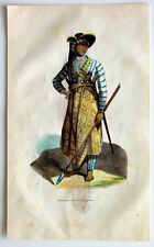 1845 Dally Antique Print of a Warrior of Java in War Dress, Indonesia