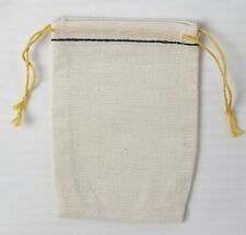 500 Mini Cotton Muslin Black Hem and  YELLOW double Drawstring Bags