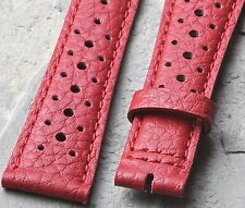 Red 20mm vintage rally band takes 16mm buckle bold auto racing color watch strap