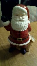 VINTAGE HAND PAINTED CERAMIC WAVING SANTA WITH SACK FOR CANDY, 1980.DUNCAN?
