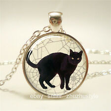Black cat Cobweb Cabochon Glass silver necklace for women men Jewelry
