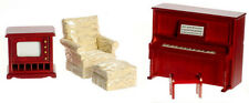Dollhouse Furniture 4pc Den Set with Chair Piano & TV #T0535