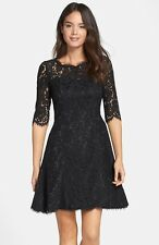 ELIZA J TULIP SCALLOPED LACE BLACK FIT & FLARE  DRESS sz  14