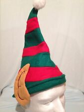 Adult Elf Costume Christmas Holiday Red & Green Felt Hat With Ears