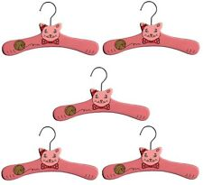 Promo Kidorable Kids Set Of 5 Children's Pink Cat Wooden Coat Clothes Hangers