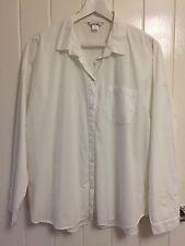 MONKI Bianco 100% Cotone Camicia a maniche lunghe Taglia L UK 14-16 minimo lavoro ufficio