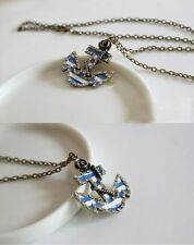 Collier ancre marine bleu blanc rayee strass matelot mousse marin pinup retro