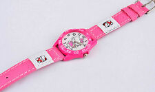 Kids Girls Hello Kitty Dark Pink Wrist Watch Analog Leather Strap UK SELLER