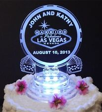 Las Vegas Lighted Wedding Cake Topper Acrylic Cake Top Poker Chip Personalized