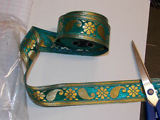 40mm  teal gold jacquard embroidered ribbon lace applique motif trimming decor