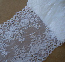 "3 Yards 9.5"" Wide Lovely Floral Stretch Lace White 595"