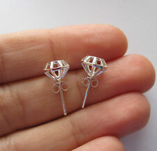925 Sterling silver 3D DIAMOND shape studs earrings