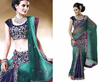 Indian Designer Women Free Size Embroidery Net Lehenga Sari Saree + Blouse Piece